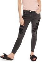 Topshop Petite Women's Jamie Embroidered Raw Hem Skinny Jeans