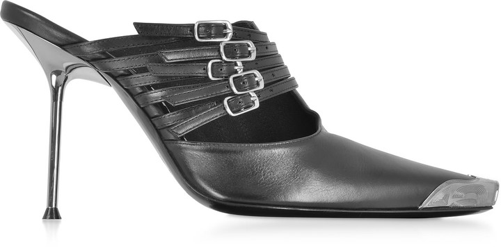 efe2f081970 Minna Black Calf Leather High Heel Mules