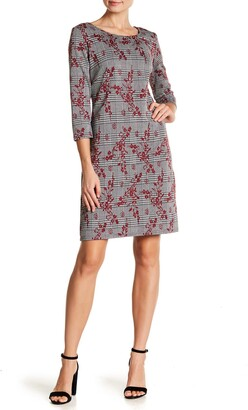 Nina Leonard 3/4 Length Sleeve Crew Neck Dress