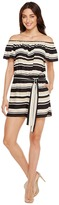 Vince Camuto Kalai Stripe Off Shoulder Belted Romper Women's Jumpsuit & Rompers One Piece