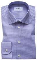 Eton Check Overcheck Regular Fit Dress Shirt