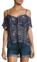 Paige Henna Cold-Shoulder Floral Printed Silk Blouse
