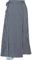 Preen by Thornton Bregazzi Traiber Printed Twill Wrap Skirt - Navy