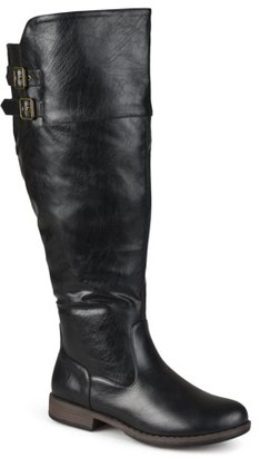 Brinley Co. Womens Wide Calf Round Toe Buckle Detail Boots