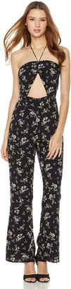 Plumberry Women's Jumpsuit Cute Cropped Foral Printed Wide Leg Playsuit Jumper Romper Black X-Small