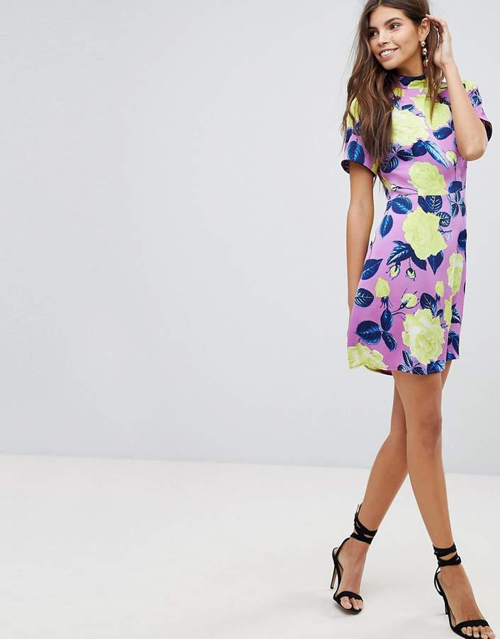 Asos Design ULTIMATE High Neck Bright Floral Mini Dress