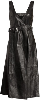 Proenza Schouler Belted Leather Wrap Dress