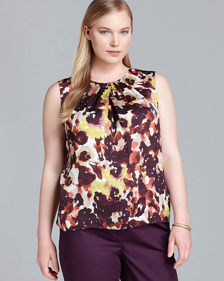 Jones New York Collection Plus Pleated Neck Shell