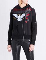 Alexander McQueen Embroidered braided cotton-jersey hoody