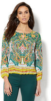 New York & Co. Hardware-Accent Keyhole Blouse - Print