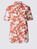 Classic Pure Cotton Floral Print Short Sleeve Shirt