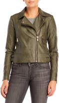 philosophy Faded Green Faux Leather Moto Jacket