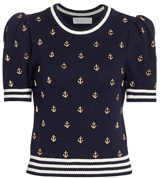 Michael Kors Anchor-Embellished Puff-Sleeve Cashmere Sweater