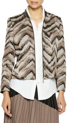 Misook Zip-Up Tiger Pattern Knit Bomber Jacket