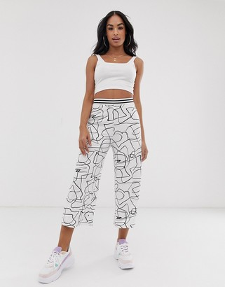 ASOS DESIGN culotte pants in non-print with sporty elastic waistband