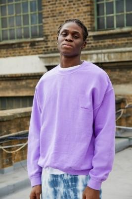 iets frans... Men's Overdyed Purple Crew Neck Sweatshirt - Purple XS at Urban Outfitters