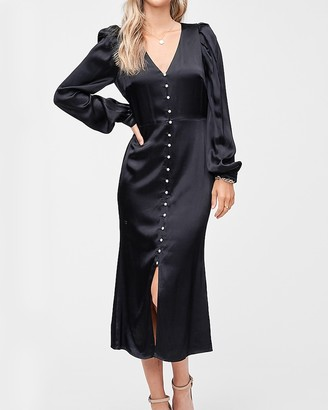 Express En Saison Satin Button Front Midi Dress
