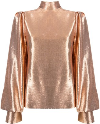 Galvan Metallic Bishop-Sleeve Silk Blouse