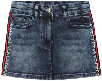 MonnaLisa Crystal-embellished denim skirt