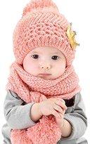 Datework Hat + Scarf ,Cute Baby Kids Girls Boys Warm Woolen Coif Hood Scarf Caps Hats (Pink)