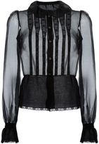Dolce & Gabbana bib front sheer shirt - women - Silk/Polyamide - 44