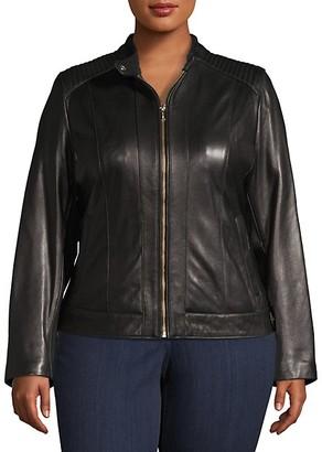 Cole Haan Plus Zip-Front Leather Moto Jacket
