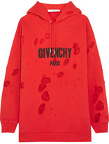 Givenchy Distressed Chiffon-paneled Cotton-jersey Hooded Sweatshirt - Red