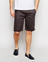 Asos Slim Chino Shorts In Washed Black
