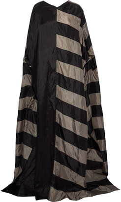 Rick Owens Cape-effect Paneled Striped Cupro Gown