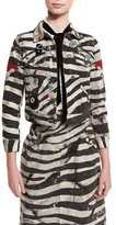 Marc Jacobs Embellished Zebra-Print Denim Jacket, White