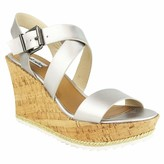 Not Rated Petal Cork Wedge with Criss Cross Straps and White Sole Detail