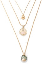 Ella & Elly Women's Necklaces Goldtone - Green Crystal & Goldtone Layered Necklace