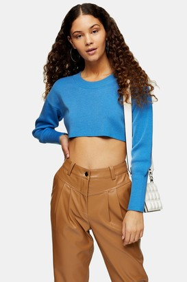 Topshop Blue Super Cropped Knitted Sweater