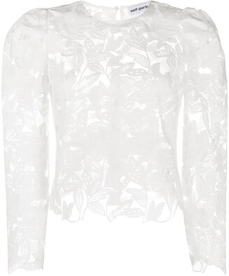 Self-Portrait Floral-Pattern Sheer Blouse