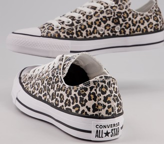 Converse All Star Low Trainers Black Driftwood Light Fawn Cheetah