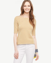 Ann Taylor Striped Doubleface Boatneck Tee