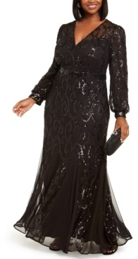 R & M Richards Plus Size Surplice Sequined Gown