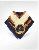 Blue & Cream Saddlery Print Silk Square Scarf