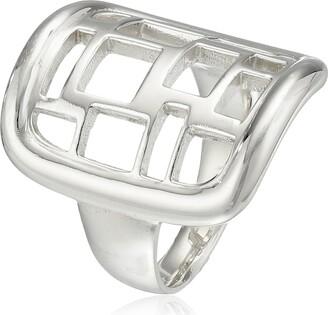 "Zina Sterling Silver ""Windows"" Saddle Ring Size 6"