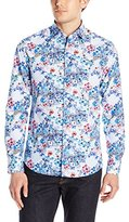 Stone Rose Men's Floral Check Long Sleeve Button Down Shirt