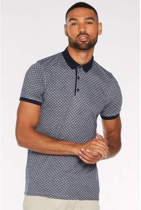 Quiz Printed Polo with Contrast Collar and Piping in Navy