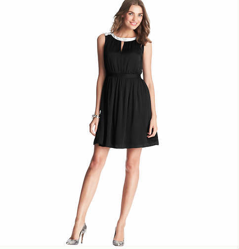 LOFT Tall Cutout Neck Blouson Dress