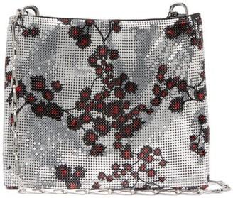 Paco Rabanne Pixel 1969 Sakura-print Chainmail Shoulder Bag - Womens - Silver Multi