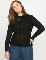 ELOQUII Plus Size Bow Tie Ruffle Sweater