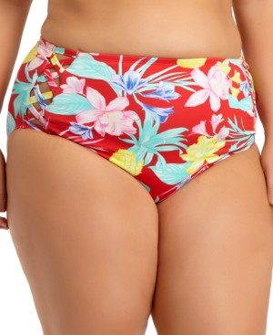 California Waves Trendy Plus Size High-Waist Bikini Bottoms, Created for Macy's Women's Swimsuit
