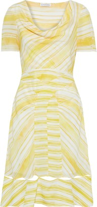 Altuzarra Lucia Cutout Draped Striped Silk Crepe De Chine Dress