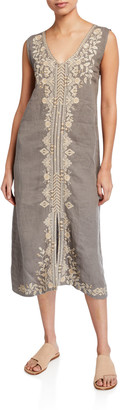 Johnny Was Plus Size Kemi Embroidered Linen Tank Dress