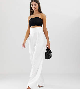 Asos Tall DESIGN Tall wide leg trousers with deep waistband-White