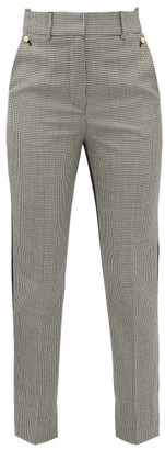 Petar Petrov Helen Houndstooth And Contrast Back Wool Trousers - Womens - Grey Multi