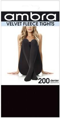 Ambra Velvet Fleece Tights Black
